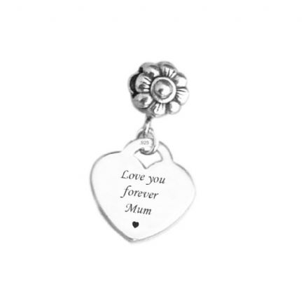 Memorial Charm, Love You Forever, Sterling Silver